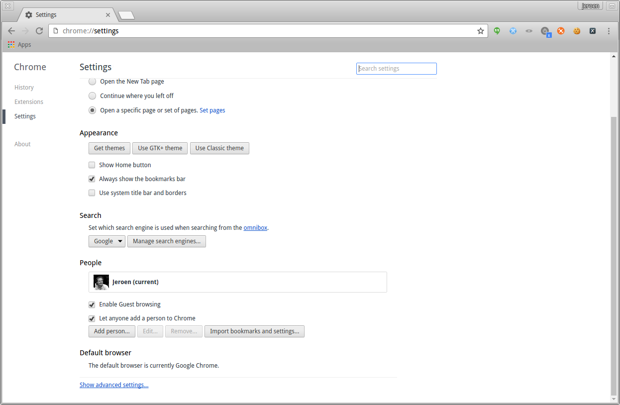 Chrome open settings page