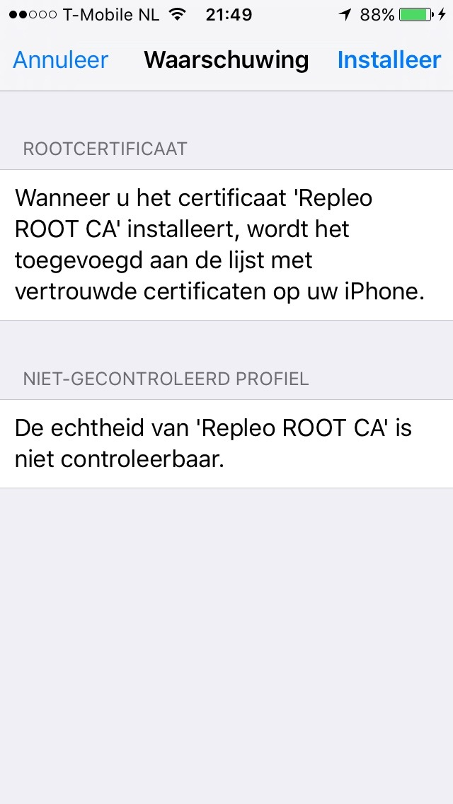 IOS trust new certificate